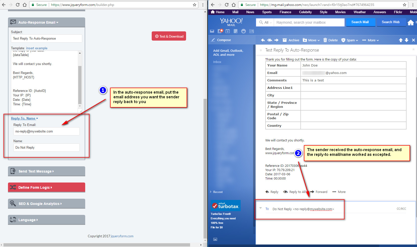 Set up Reply-To email address for web form and auto-response email