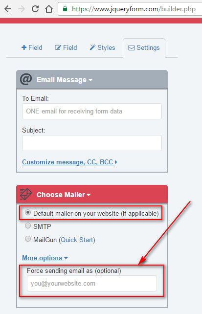 The web form can't send emails?
