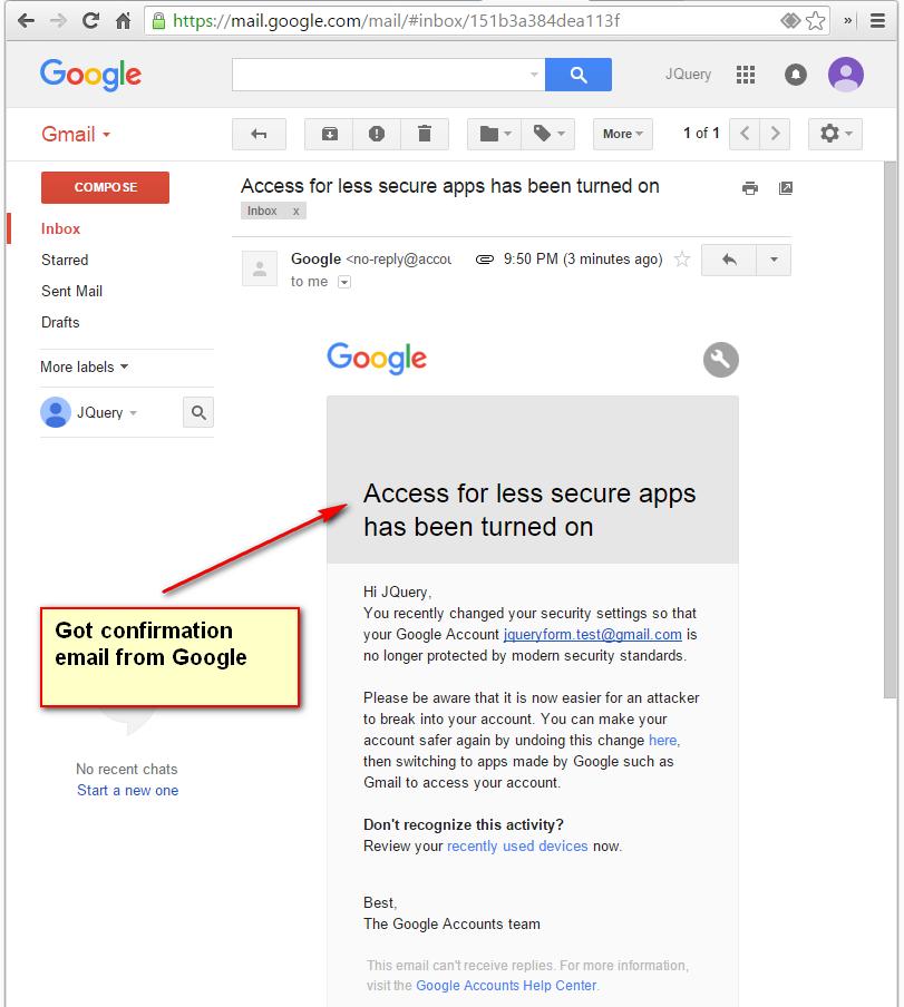 Use GMail SMTP server as JQuery Form mailer