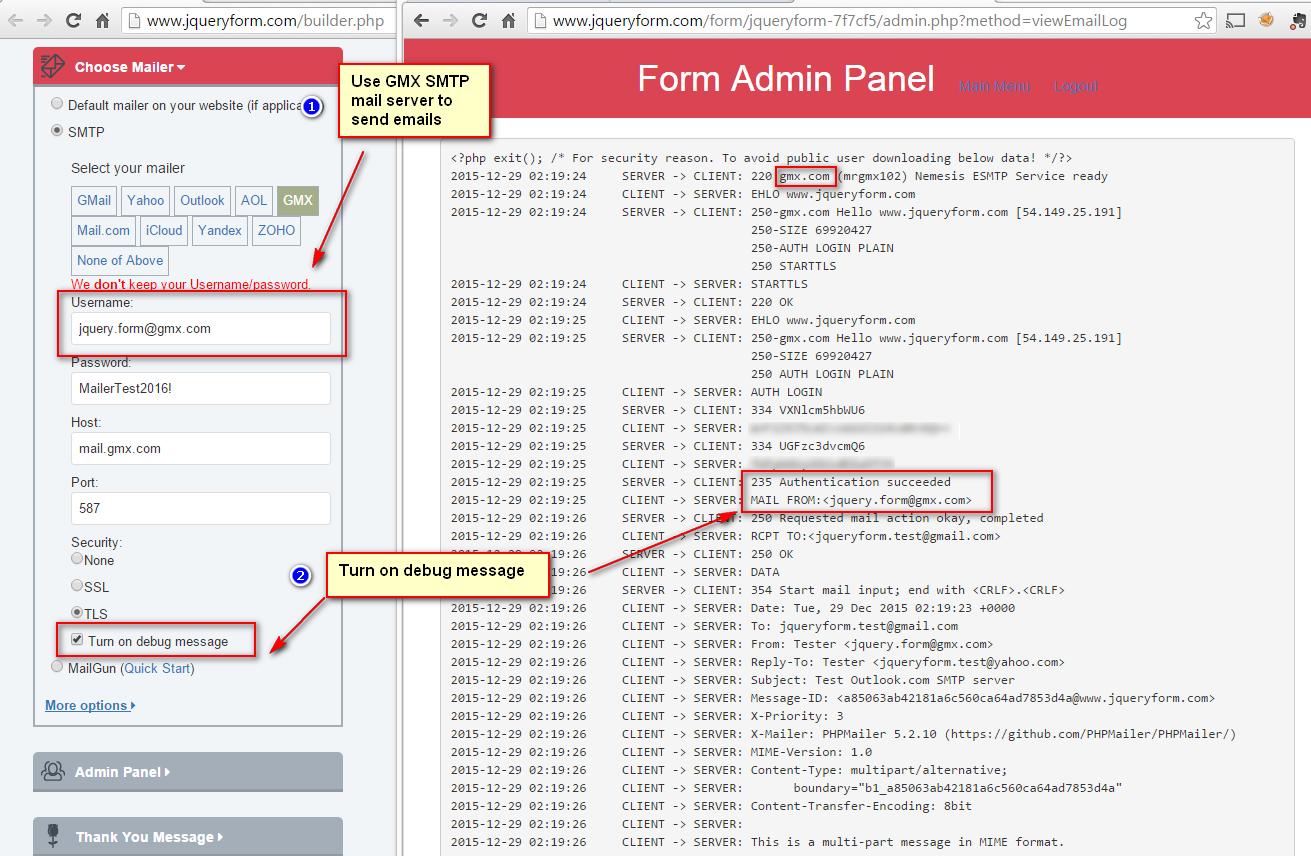 Use GMX SMTP server to send emails