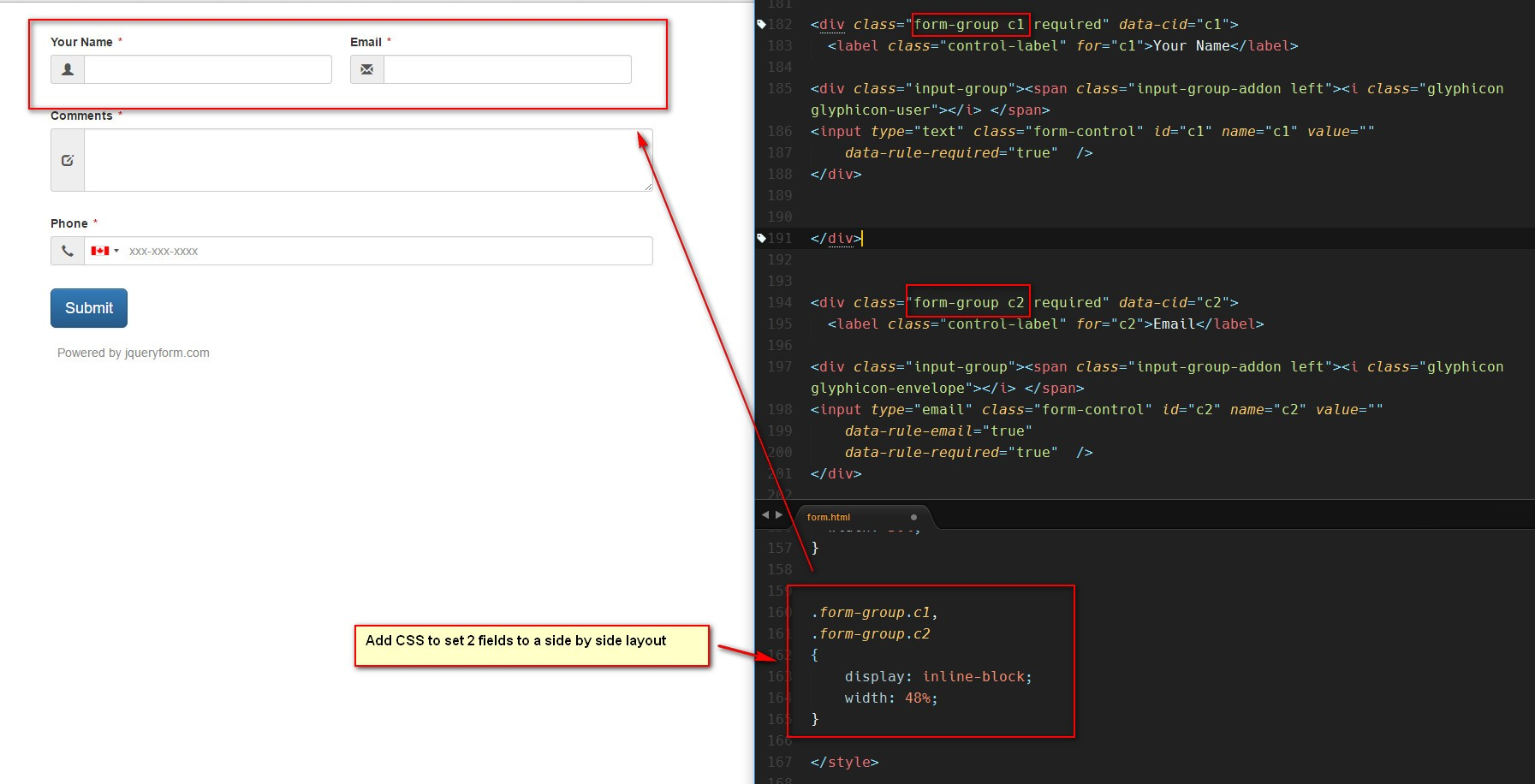 Use CSS to Set Fields Layout Side by Side in jQuery Bootstrap Form