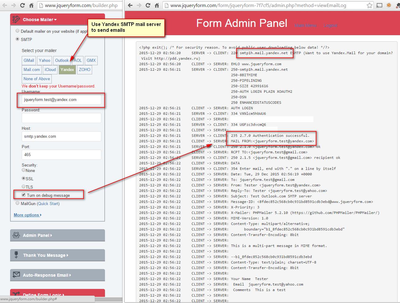 Use Yandex SMTP server to send emails